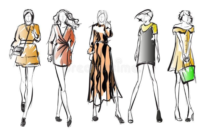 nakreślenie mod dziewczyny na białym tle royalty ilustracja