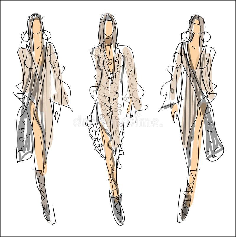 Nakreślenie moda - kobiety ilustracja wektor