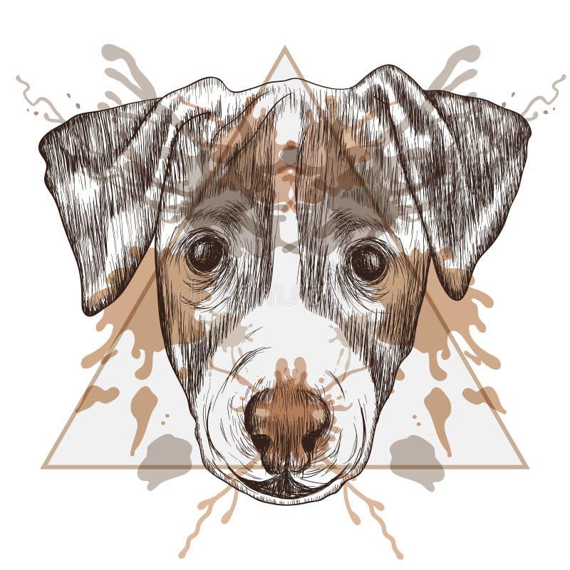 Nakreślenie modniś Jack Russel Terrier stawia czoło w trójbok ramie z ilustracji
