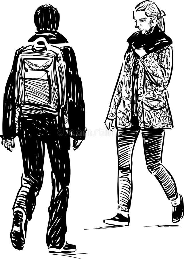 Nakreślenie nastolatkowie iść w kierunku each inny ilustracji