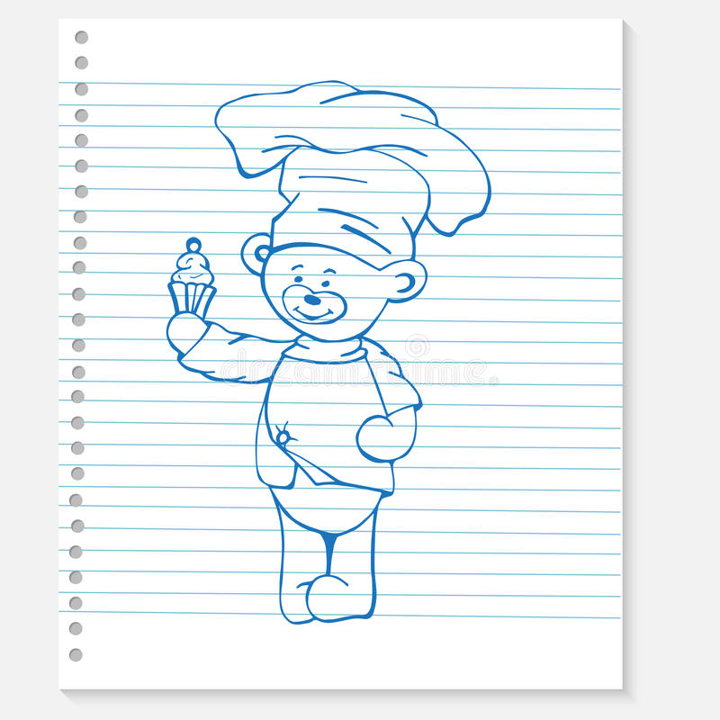 Nakreślenie niedźwiedzia kucharz na notatniku royalty ilustracja