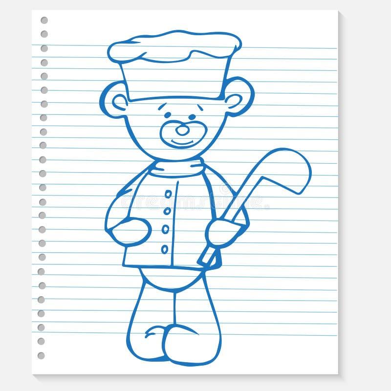 Nakreślenie niedźwiedzia kucharz na notatniku ilustracji