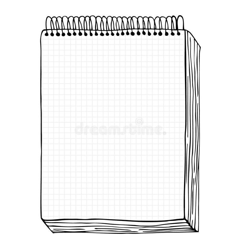 Nakreślenie notatnik. Wektorowa ilustracja z ręka rysującym liściem notatnik. Klamerki sztuka royalty ilustracja