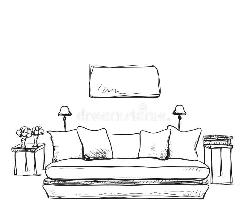 Nakreślenie nowożytny żywy izbowy wnętrze royalty ilustracja