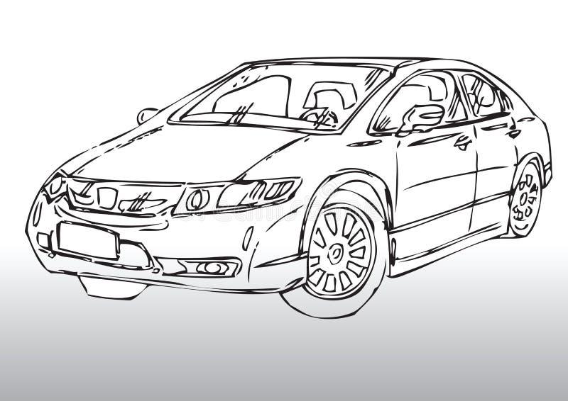 Nakreślenie nowożytny samochód ilustracji
