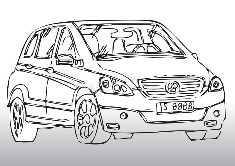 Nakreślenie nowożytny samochód royalty ilustracja