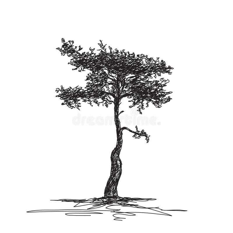Nakreślenie odosobniony drzewo royalty ilustracja