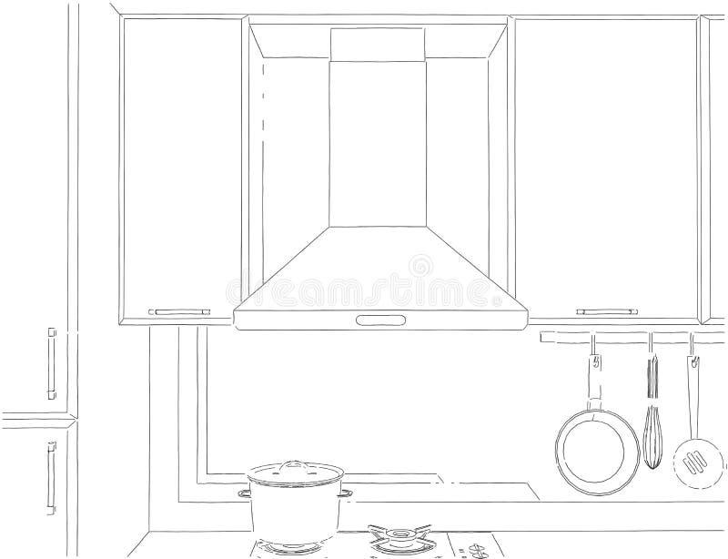 Nakreślenie opar spiżarnie i kapiszon ilustracja wektor