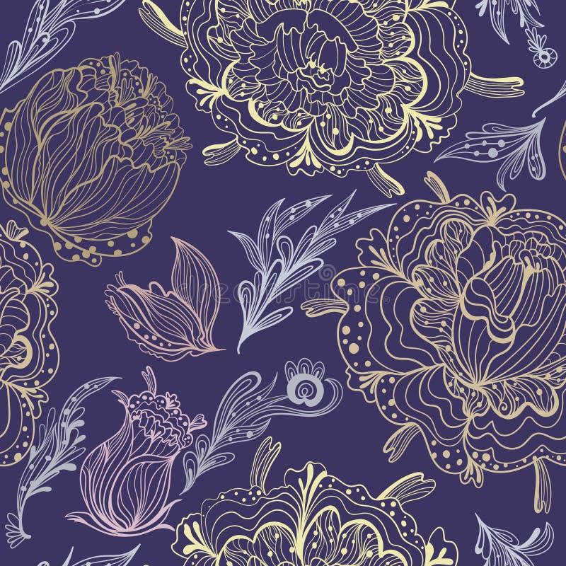 Nakreślenie Ornamentacyjny Wektorowy Kwiecisty wzór ilustracja wektor