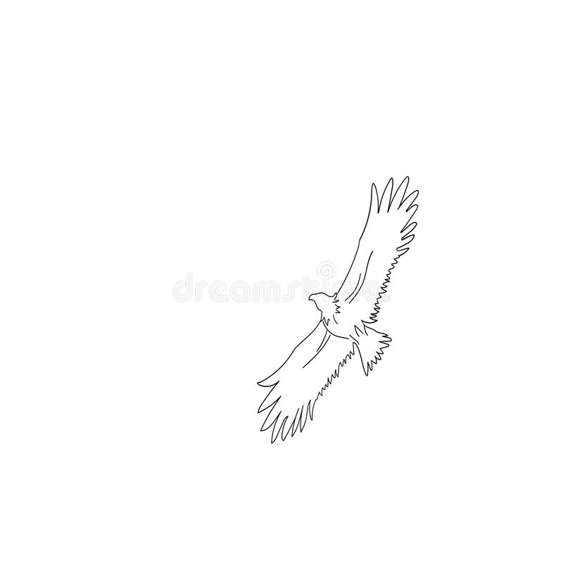 Nakreślenie orzeł w locie na białym tle ilustracja wektor