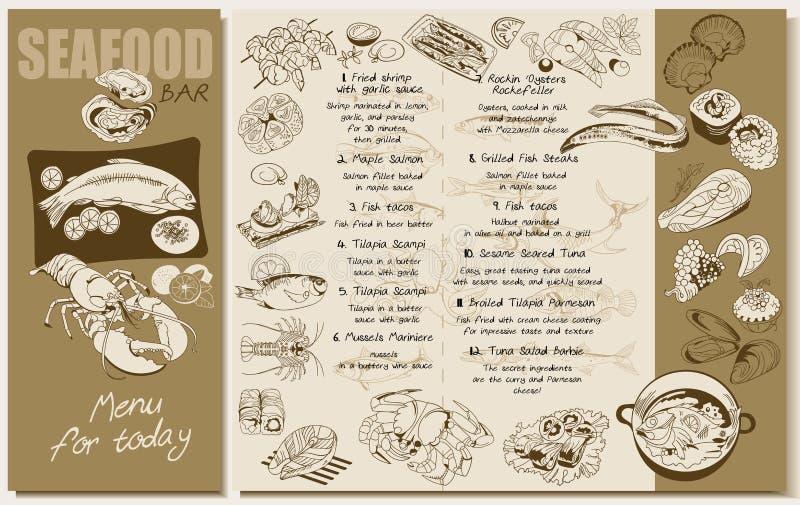 Nakreślenie owoce morza menu Restauracyjny szablon ilustracja wektor