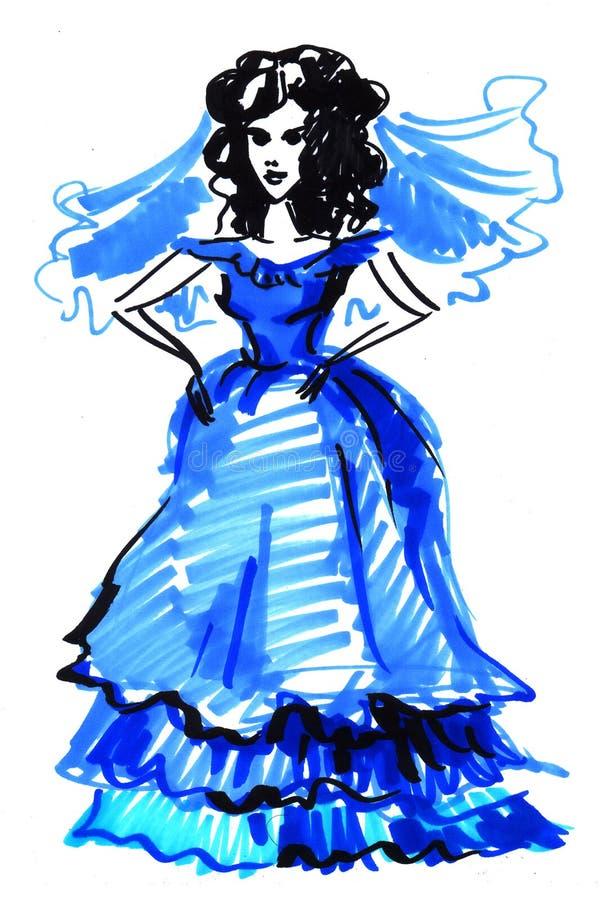 Nakreślenie panna młoda w błękicie ilustracja wektor