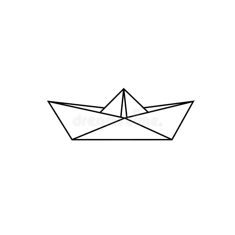 Nakreślenie papierowa łódź ilustracji