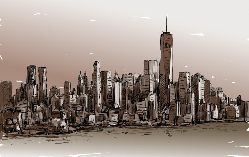 Nakreślenie pejzaż miejski w Nowy Jork przedstawienia Manhattan środku miasta z skys ilustracji