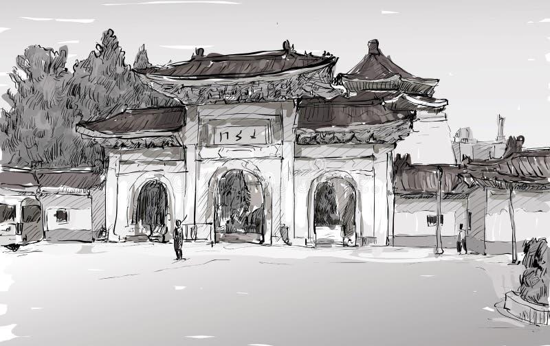 Nakreślenie pejzaż miejski w Tajwańskim Taipei przedstawienia starej świątyni drzwi royalty ilustracja
