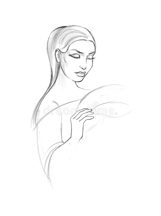 nakreślenie piękna kobieta royalty ilustracja