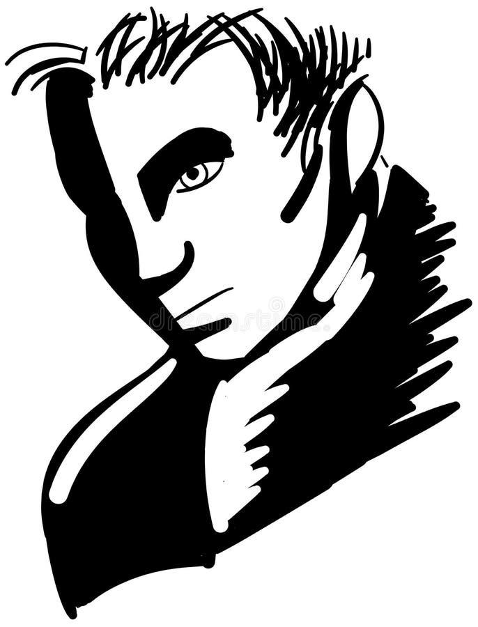 Nakreślenie piękna mężczyzna twarz ilustracja wektor