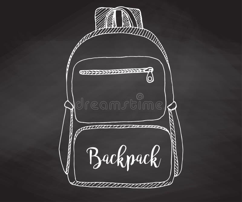 Nakreślenie plecak Plecak odizolowywający na chalkboard Wektorowa ilustracja nakreślenie styl ilustracja wektor