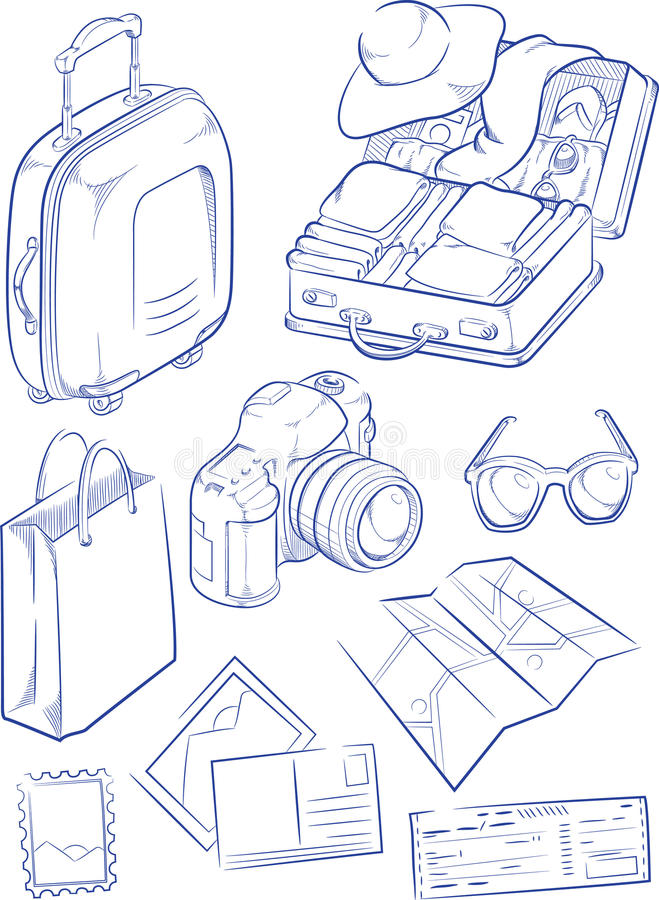 Nakreślenie podróż symbol & przedmiot royalty ilustracja