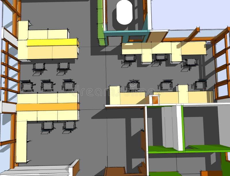 Nakreślenie powierzchnia biurowa ilustracji