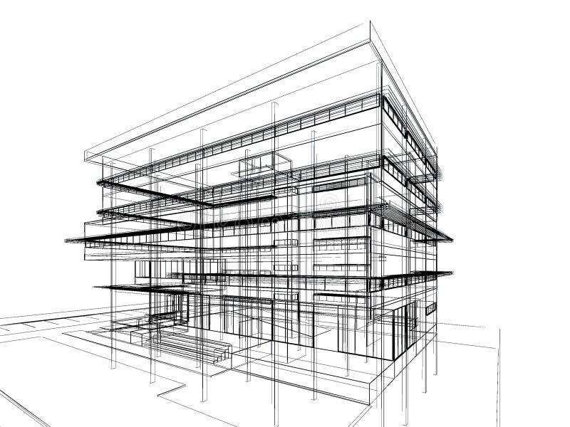 Nakreślenie projekt budynek ilustracja wektor