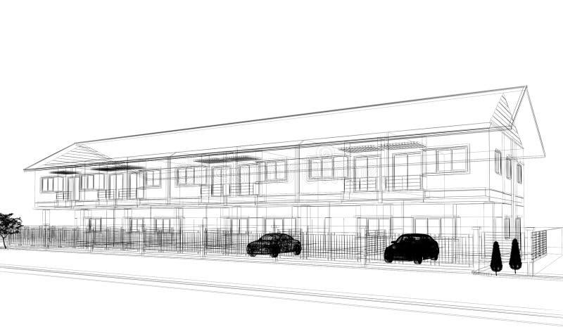 Nakreślenie projekt grodzki dom ilustracji