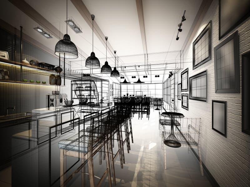 Nakreślenie projekt sklep z kawą royalty ilustracja