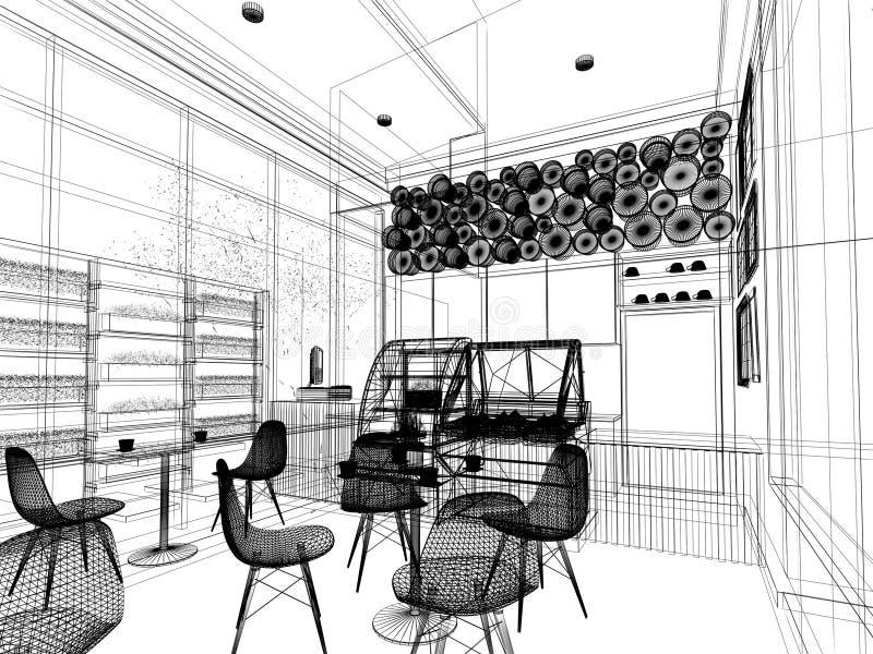 Nakreślenie projekt sklep z kawą, ilustracja wektor