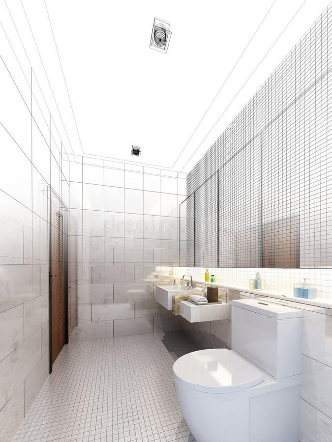 Nakreślenie projekt wewnętrzna łazienka ilustracji