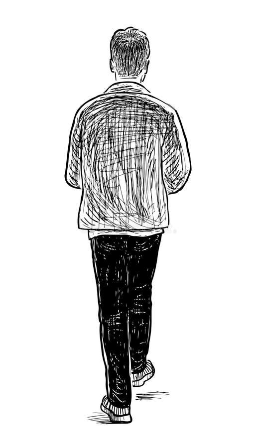 Nakreślenie przypadkowa nastoletnia chłopiec iść w dół ulica ilustracji