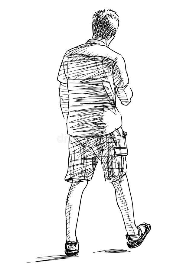 Nakreślenie przypadkowy młodej osoby odprowadzenia puszek ulica royalty ilustracja