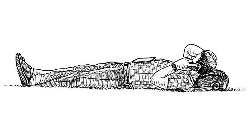 Nakreślenie przypadkowy mieszczanina lying on the beach na gazon trawie i opowiadać na telefonie komórkowym royalty ilustracja
