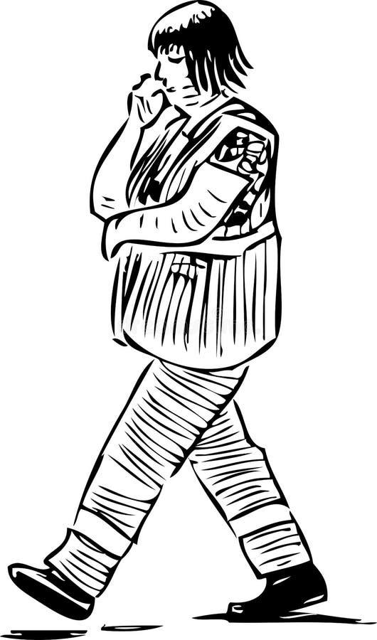Nakre?lenie przypadkowy mieszczanki inuniform kroczy w d?? ulica ilustracja wektor
