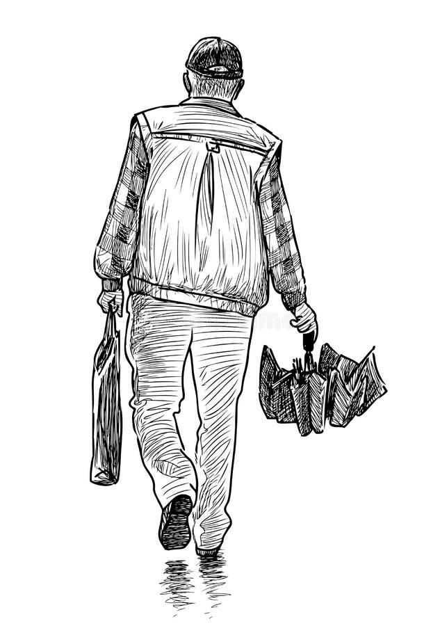 Nakreślenie przypadkowy pieszy z parasolem royalty ilustracja