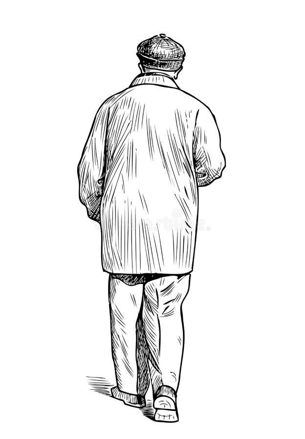 Nakreślenie przypadkowy starsza osoba mężczyzna iść w dół ulica ilustracji