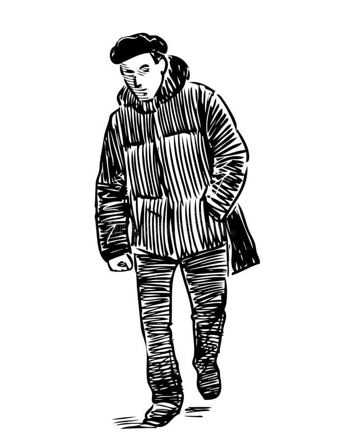 Nakreślenie przypadkowy zwyczajny iść w dół ulica ilustracja wektor