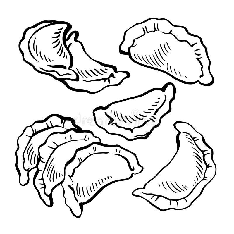 Nakreślenie ręka rysujący Vareniki kluchy Jedzenie _ bambusa naczyń posiłku obywatela talerza dywanika owoce morza wtyka ilustracja wektor