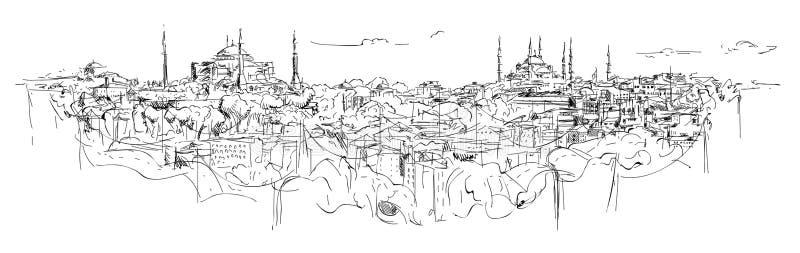 Nakreślenie ręka rysuje panoramiczną Istanbul sylwetkę ilustracja wektor