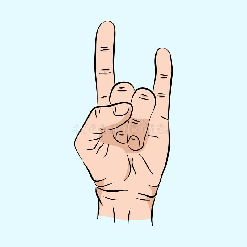 Nakreślenie ręka znaka skały n rolki muzyka, wektorowa ilustracja odizolowywająca na błękitnym tle Ręka znak dla sieci, plakat royalty ilustracja