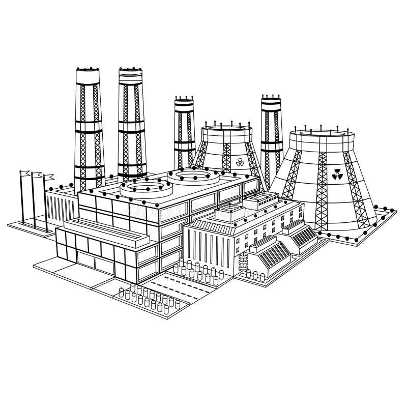 Nakreślenie realistyczna elektrownia jądrowa odizolowywająca royalty ilustracja