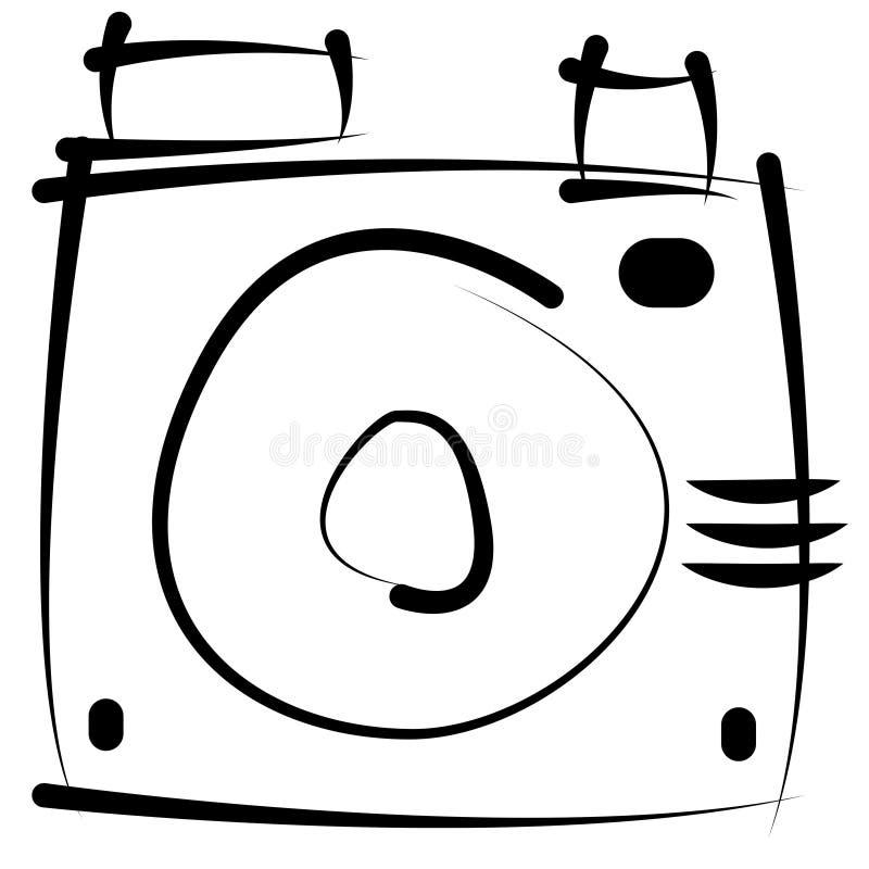 Nakreślenie retro kamera odizolowywająca na bielu royalty ilustracja