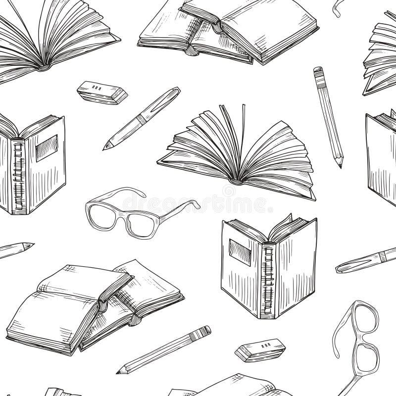 Nakreślenie rezerwuje bezszwowego wzór Ebooks czytanie i wektorowy tło z writing, edukaci szkolnej i bibliotecznego doodle, ilustracja wektor
