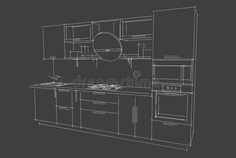 Nakreślenie rysunek 3d nowożytny kuchenny wnętrze z round kapiszonem royalty ilustracja
