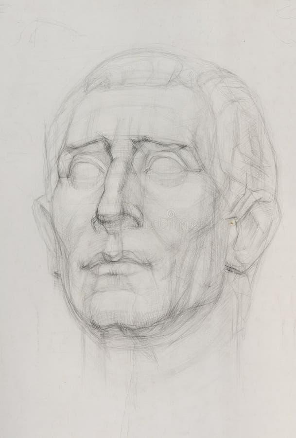 Nakreślenie rysunek gipsowa rzeźby głowa royalty ilustracja