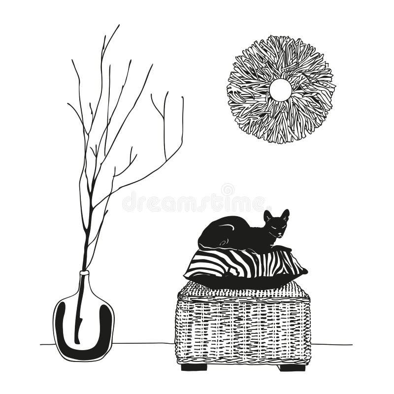 Nakreślenie rysunek wnętrze pokój kot na poduszce, nakreślenie z konturowymi liniami r?wnie? zwr?ci? corel ilustracji wektora ilustracja wektor
