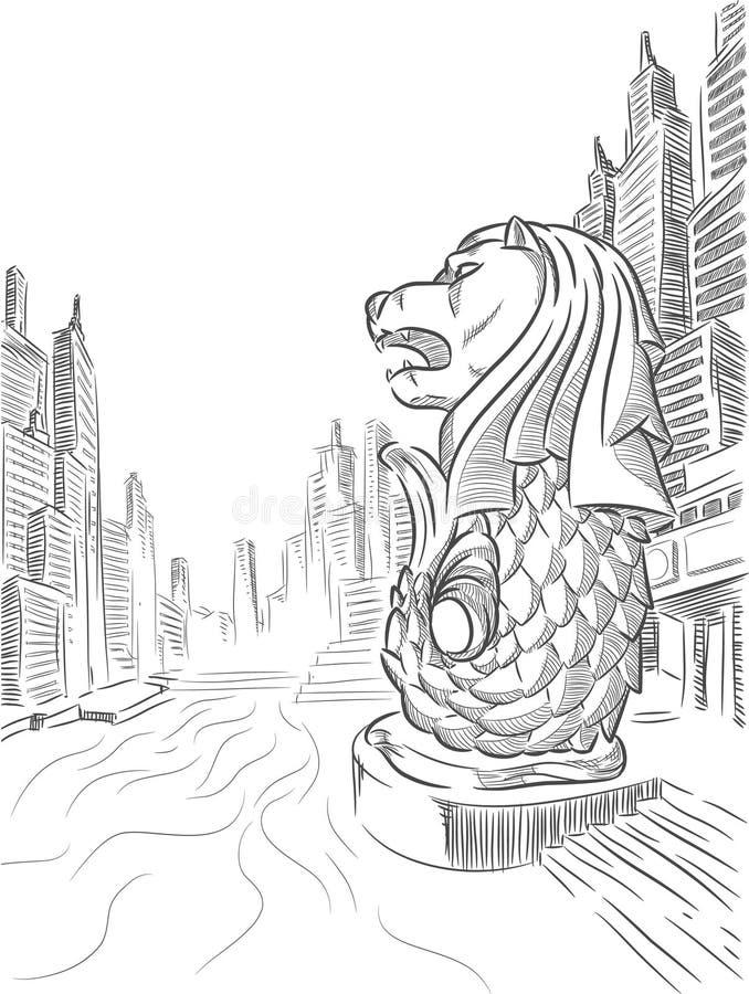 Nakreślenie Singapur turystyki punkt zwrotny - Merlion ilustracja wektor