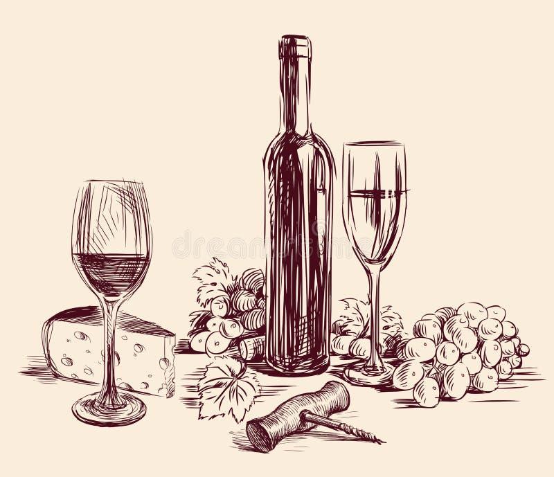Nakreślenie spokojny życie z gronowym winem royalty ilustracja