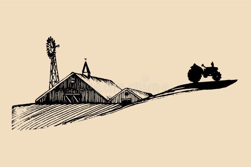 Nakreślenie stajnia, ciągnik i wiatraczek wioski, Wektorowa wiejska krajobrazowa ilustracja Ręka rysująca rolnicza farma royalty ilustracja