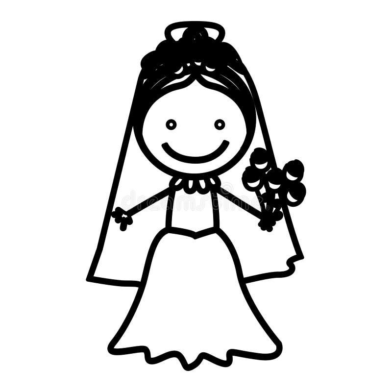 nakreślenie sylwetki kobieta z kostiumową panny młodej ikoną royalty ilustracja