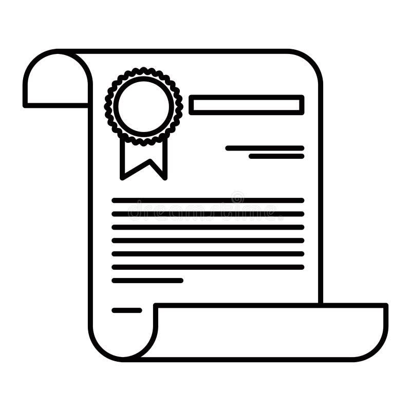 Nakreślenie sylwetki wizerunku świadectwa dokumentu papieru strona z znaczkiem ilustracji